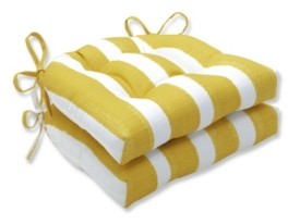 """Pillow Perfect Nico Stripe 16.5"""" x 15"""" Outdoor Chair Pad Seat Cushions 2-Pack"""