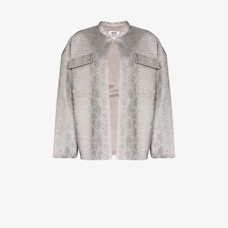 MAISIE WILEN Snake Print Leather Jacket