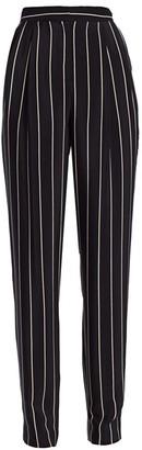 St. John Pleat Front Striped Pull-On Pants