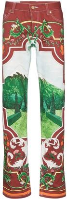 Casablanca x Browns 50 Fenetre Sur Le Lac printed jeans