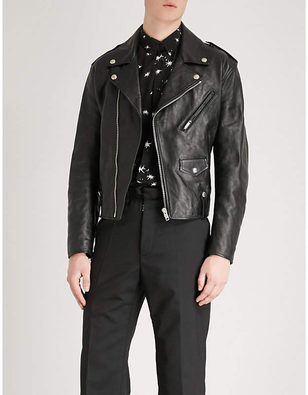 Givenchy Monogram-lined leather biker jacket