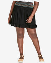 City Chic Trendy Plus Size Embroidered Ruffled Skirt