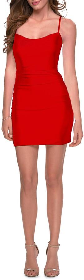 Thumbnail for your product : La Femme Lace-Up Back Minidress