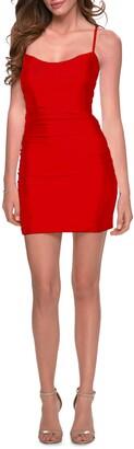 La Femme Lace-Up Back Minidress