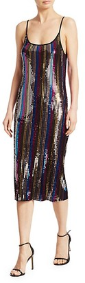 Tanya Taylor Venus Multicolor Stripe Sequin Slip Dress