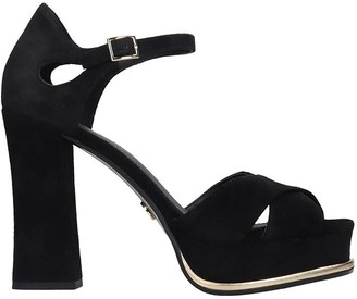 Michael Kors Elana Platform Sandals In Black Suede