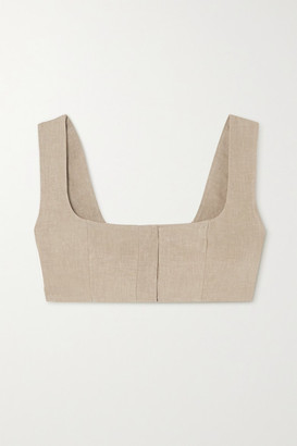 Le Kasha Jirja Cropped Linen Top - Army green