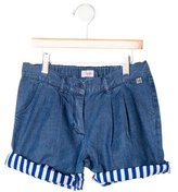 Il Gufo Girls' Pleated Denim Shorts