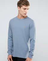 Farah Waffle Logo Long Sleeve Top Regular Fit in Blue