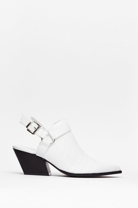 Nasty Gal Womens Point of No Return Croc Heeled Boots - White