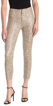 Mother Faux Suede Leopard Print Ankle Cut Pants