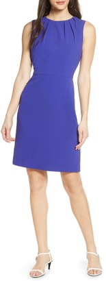 Charles Henry Pleated Neck Sheath Dress