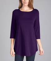 Lily Purple Rounded-Hem Tunic - Plus Too