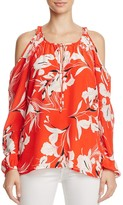 Yumi Kim Floral Print Cold-Shoulder Top