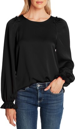 CeCe Textured Satin Long Puff Sleeve Blouse