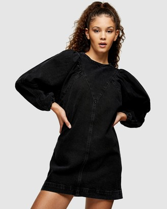 Topshop Women's Black Mini Dresses - Denim Puff Sleeve Mini Dress - Size 6 at The Iconic