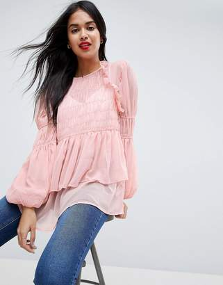 Asos Design Sheer Crinkle Blouse With Poets Sleeve-Pink