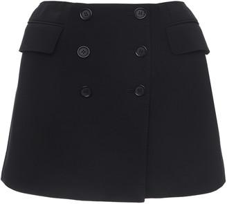 Dolce & Gabbana Button-Detailed Wool-Blend Mini Skirt