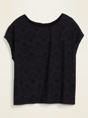 Old Navy Embroidered-Eyelet Plus-Size Woven/Knit Top