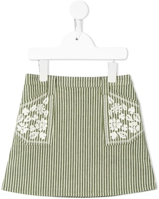 Velveteen Rhea striped A-line skirt
