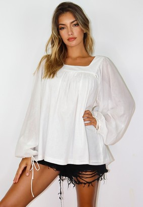 Missguided Cream Square Neck Long Sleeve Smock Top