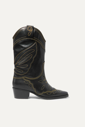 Ganni High Texas Embroidered Leather Boots - Black