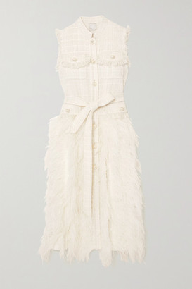 Huishan Zhang Wyatt Feather-trimmed Tweed And Pleated Crepe Dress - Ivory