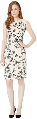 Calvin Klein Floral Print Sheath Dress w/ Ruched Neck (Blossom/Black) Women's Dress