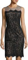 Julia Jordan Floral Mesh-Yoke Sheath Dress, Black