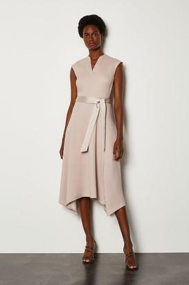 Karen Millen Notch Neck Sleeveless Crepe Midi Dress