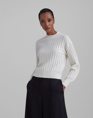 Club Monaco Ribbed Cashmere Blouson Sleeve Sweater