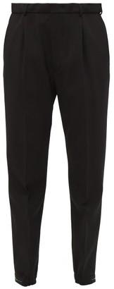 Prada Stretch-cuff Wool-blend Trousers - Womens - Black