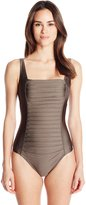 Calvin Klein Women's Shimmer Pleated-Front Maillot One Piece Swimsuit