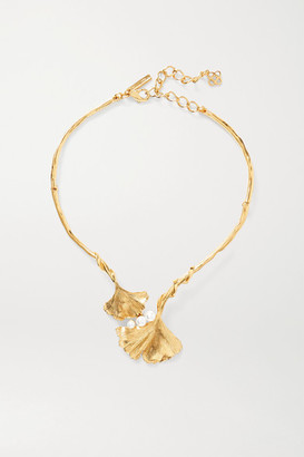 Oscar de la Renta Gold-tone Faux Pearl Necklace