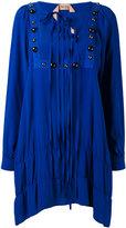 No.21 embellished lace-up shift dress - women - Silk/Acetate - 44