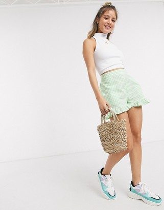 Pieces shorts with frill detail in green gingham