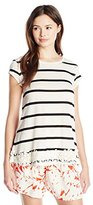 Jolt Women's Striped Short Sleeve Top with Floral Lace Hem