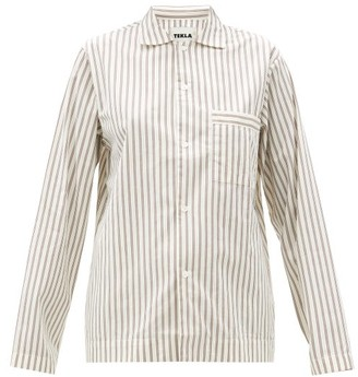 Tekla Striped Organic-cotton Pyjama Top - Cream Stripe
