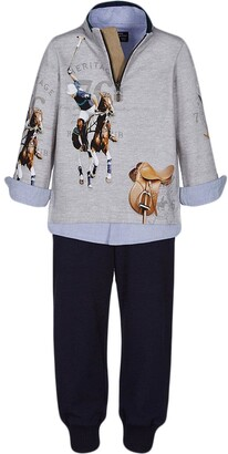 Lapin House Polo Print Shirt And Trousers Set
