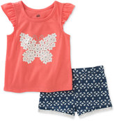 Kids Headquarters 2-Pc. Butterfly Top & Denim Shorts Set, Baby Girls (0-24 months)