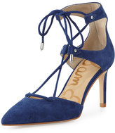 Sam Edelman Taylor Suede Lace-Up Pump, Royal Blue