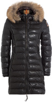 Parajumpers Demi Leather Down Jacket with Fur-Trimmed Hood