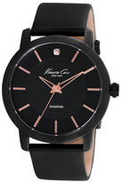 Kenneth Cole Black Plated Round Watch with Rose Goldtone Accents