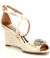 Badgley Mischka Abigail Crystal-Embellished Satin Wedge Dress Sandals