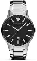Emporio Armani Silver and Black Stainless Steel Watch, 43mm