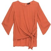 Bobeau 3/4 Sleeve Solid Tie Front Blouse.