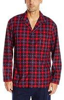 Nautica Men's Long-Sleeve Cozy Fleece Red Plaid Camp Shirt