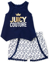 Juicy Couture Infant Girls) Two-Piece Sharkbite Tank & Printed Shorts Set
