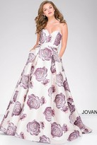 Jovani Sweetheart Neck Floral Dress 48924