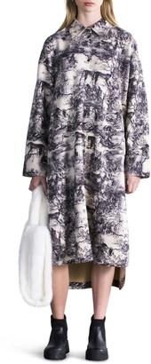Stand Studio Sonique Wallpaper Print Oversize Faux Suede Shirtdress